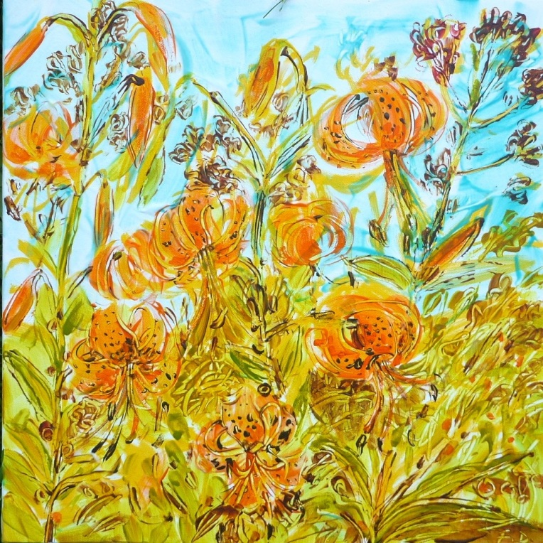 "Dance of the Lilies acrylic painting by Flora Doehler 16"" x 16"""