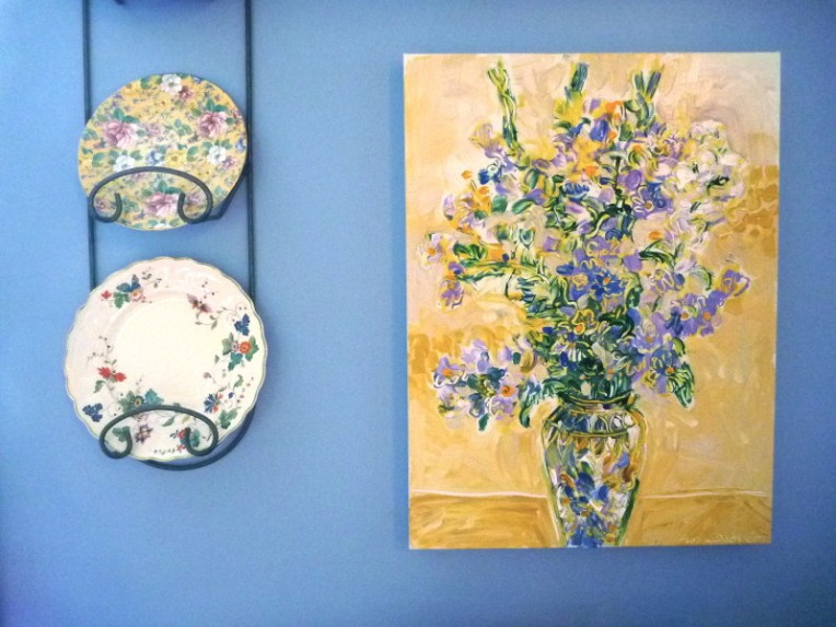 Acrylic painting by Flora Doehler, 2013 The china plate at the top is from my sister in England. The one on the bottom was left behind in this house when we bought it. I treasure them both and don't they go well with this painting.
