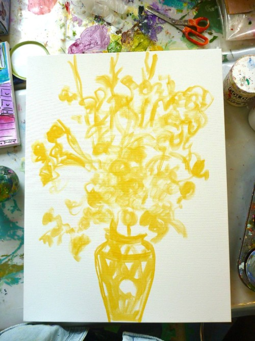 Some yellow will peek through my finished painting.