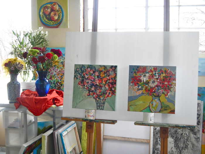 Two paintings in the studio.