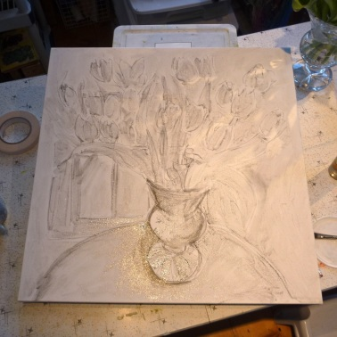 Pencil drawing and walnut oil.