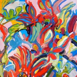 """© Flora Doehler, 2014 """"Garden Chaos"""", acrylic 20""""x20"""" $600"""