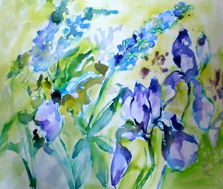 "30"" x 36"" Iris and Lupin © Flora Doehler, 2009 This painting uses the same wet-in-wet technique that I talk about in the video. (my personal collection)"
