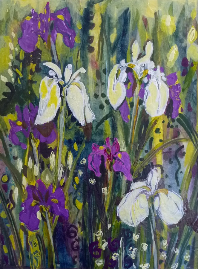 I painting this acrylic canvas the first year that Japanese iris bloomed for me. (sold). © Flora Doehler, 2013