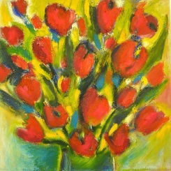 """Flowers for the Soul ©Flora Doehler, 2015 16"""" x 16"""" Oil on Canvas $375"""