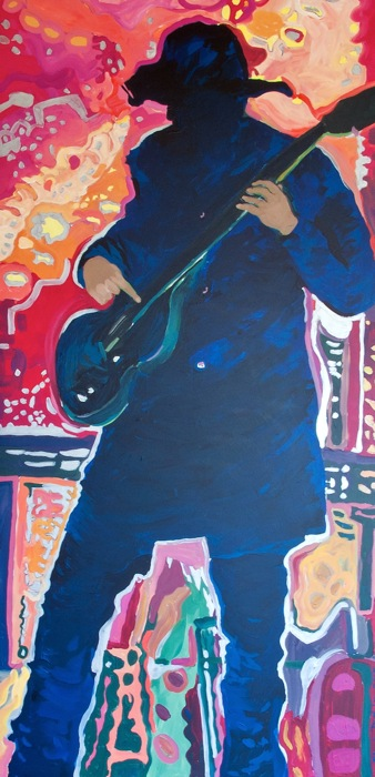 The Musician ©Flora Doehler, 2015. Acrylic on panel. 4′ x 8′.