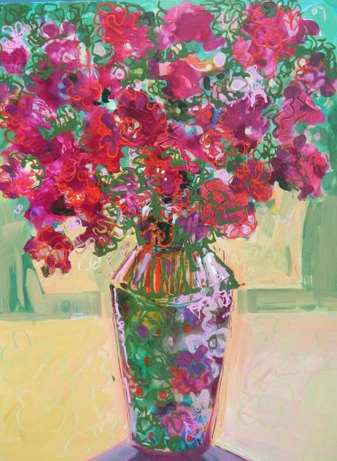 "©Flora Doehler Flower Power Acrylic on canvas 18"" x 24"" $750"