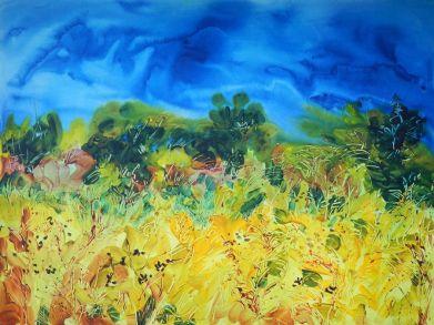 "©Flora Doehler The Golden Field Acrylic on canvas 40"" x 30"" $1400"