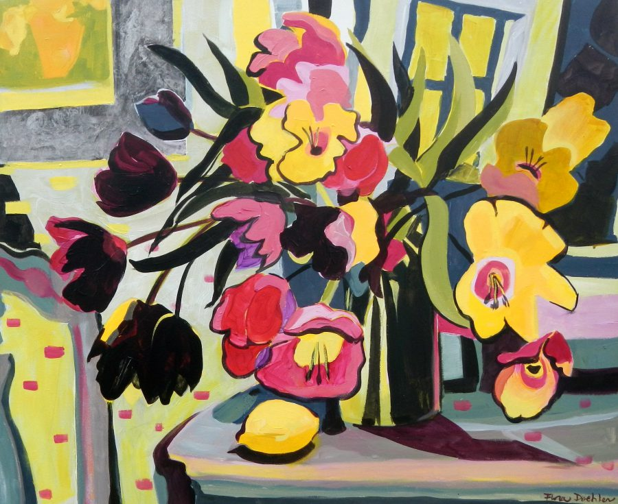 """©Flora Doehler Flowers in Winter Acrylic on canvas 36"""" x 30"""" $1200"""