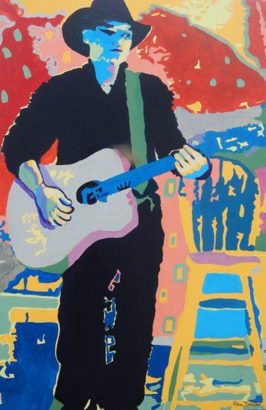 "©Flora Doehler The Music Maker Acrylic on canvas 36"" x 24"" $900"