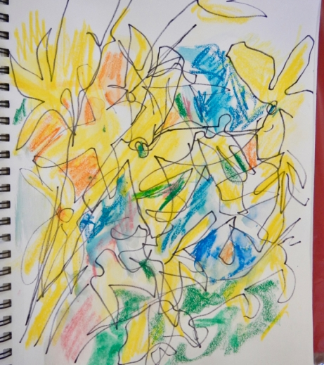 Sketch of forsythia and coloured with Derwent Artbar crayons.