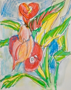 Quick sketch of Calla Lilies with markers.
