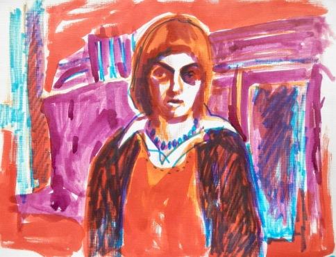 Self portrait in Berlin. Marker (1976) ©Flora Doehler