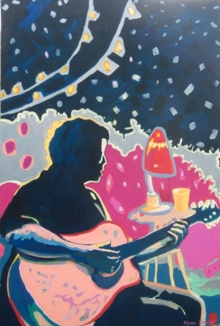 """©Flora Doehler Play Me That Song Acrylic on canvas 36"""" x 24"""" $900"""