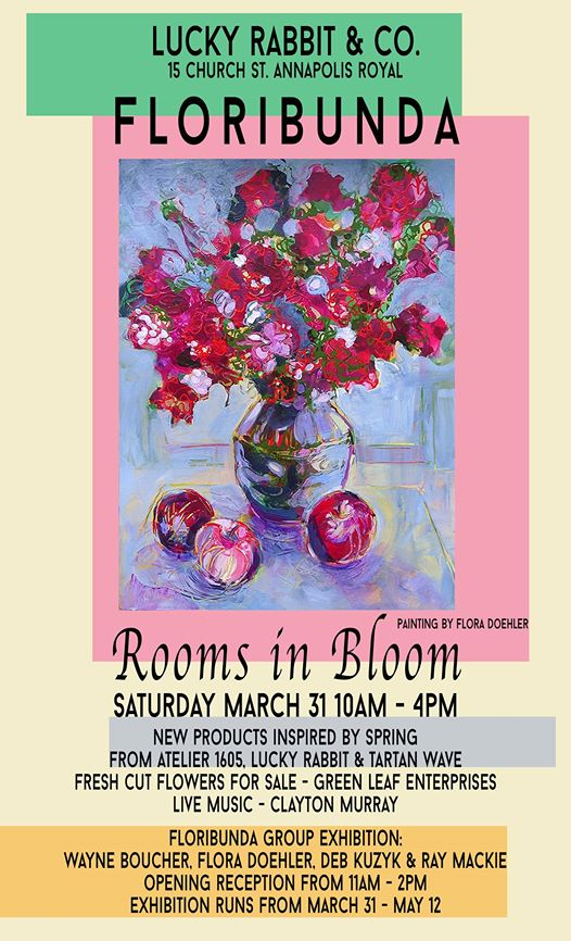 New Paintings, New Pottery, Fine Craft, Live Music, Treats – opens Sat Mar 31, 2018 @ Lucky Rabbit, Annapolis Royal