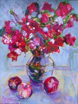 "Flower Power © Flora Doehler, 2018 Acrylic on Canvas 20"" x 16"" $600"