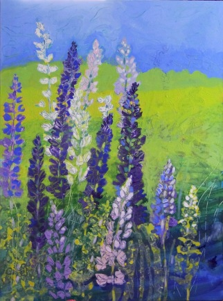 "Spring Lupins © Flora Doehler Acrylic on Canvas 48"" x 36"" $1800"