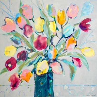 "New Beginnings © Flora Doehler, 2019 Acrylic on Canvas 24"" x 24"" $800"