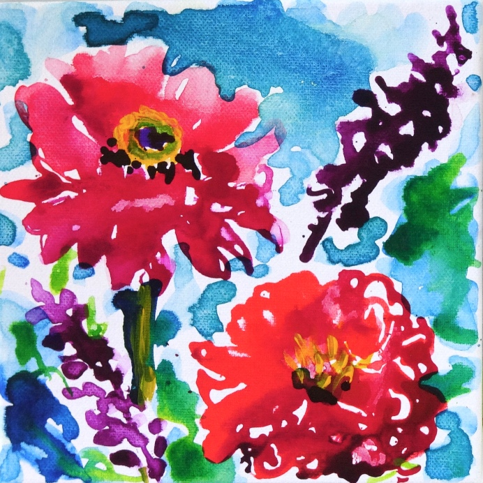 """Two Red Zinnias © Flora Doehler, 2018 Acrylic on Canvas 8"""" x 8"""" $150"""