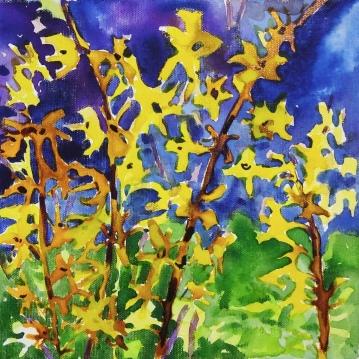 "Forsythia Acrylic on Canvas 10"" x 10"" ©Flora Doehler, 2019 $170"