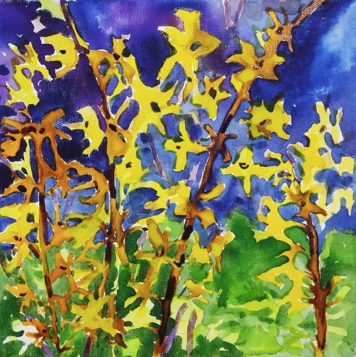 "Forsythia Acrylic on Canvas 10"" x 10"" ©Flora Doehler, 2019 $170"