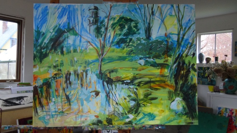 Controlled chaos at the pond this spring. Painting© Flora Doehler, 2019.