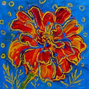 "The Happy Marigold© Flora Doehler, 2015 Acrylic on canvas 8"" x 8"""