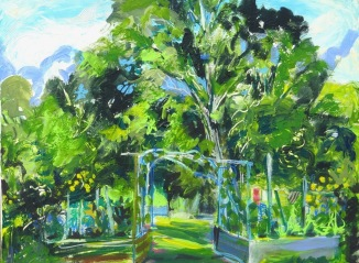 "View From the Studio ©Flora Doehler, 2020 Acrylic on canvas 24"" x 30"" $875"