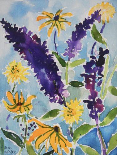 "Summertime ©Flora Doehler, 2020 9"" x 12"" Acrylic on canvas $250"
