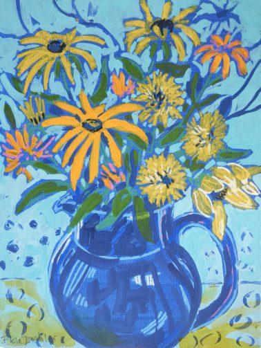 "Reflections ©Flora Doehler, 2020 9"" x 12"" Acrylic on canvas $250"