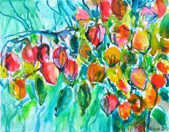 """Chinese Lanterns © Flora Doehler, 2020 9"""" x 12"""" Acrylic on canvas $225"""